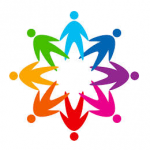 Logo:  Circle of silhouwetted  geometric  human figures, whose hands cross, and whose colors progress through the  rainbow spectrum.