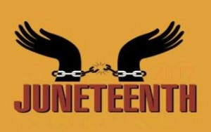 "Text:  ""Juneteenth"" below a drawing of the chain breaking, between two manacled, black hands ."